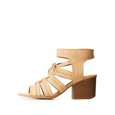 Qupid Lace Up Sandals