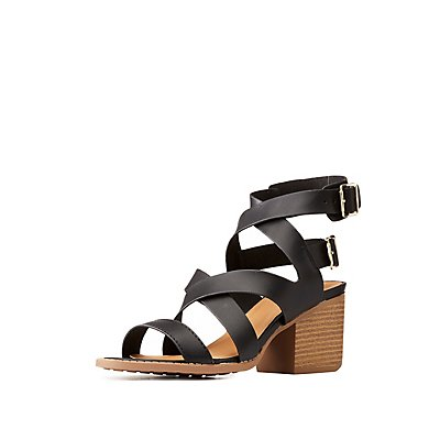 Qupid Caged Open Toe Sandals by Charlotte Russe