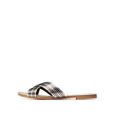 Qupid Metallic Band Slide Sandals