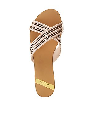 Qupid Metallic Band Slide Sandals