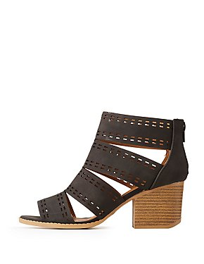 c9b41af5cae Qupid Laser Cut Caged Sandals