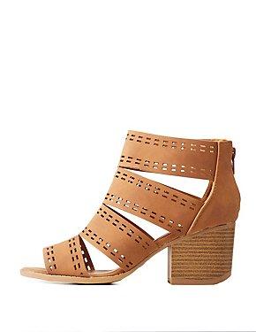 Qupid Laser Cut Sandals