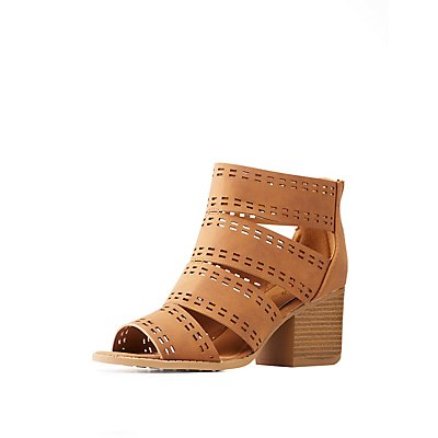 Qupid Laser Cut Sandals