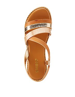 Bamboo Metallic Strappy Sandals