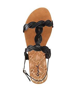 Qupid Braided T-Strap Sandals