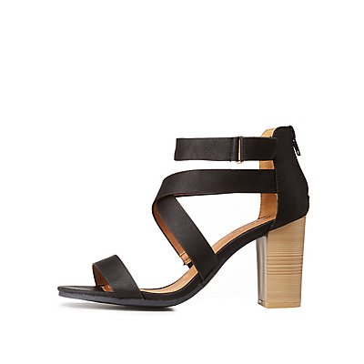 Qupid Strappy Caged Sandals