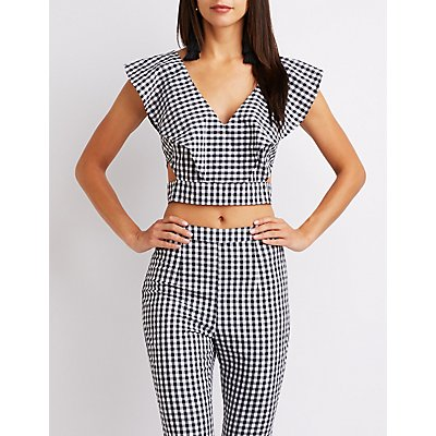 Gingham Ruffle Cut-Out Crop Top