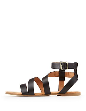 Qupid Strappy Ankle Strap Flat Sandals