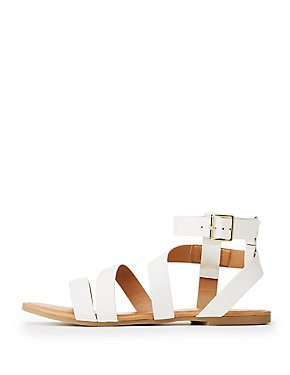 Qupid Strappy Ankle Wrap Sandals