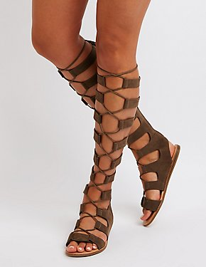 Bamboo Lace Up Gladiator Sandals