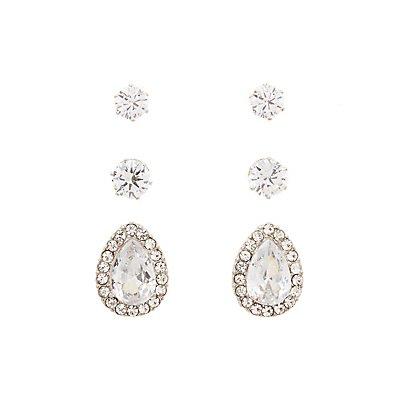 Pave Crystal Earrings - 3 Pack
