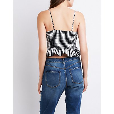 Gingham Lace Up Crop Tank Top