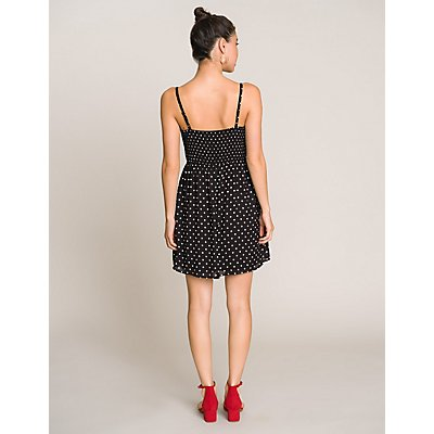 Polka Dot Tie-Front Dress