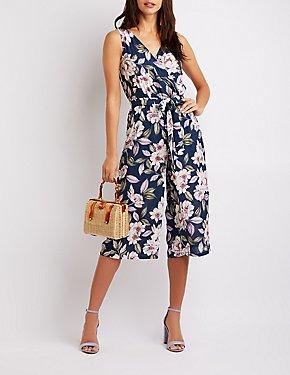 Floral Tie-Front Jumpsuit