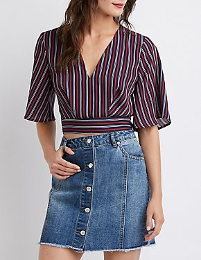 Striped Tie Back Crop Top