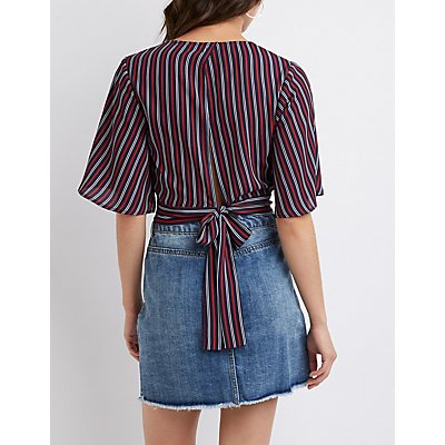 Striped Tie Back Crop Top