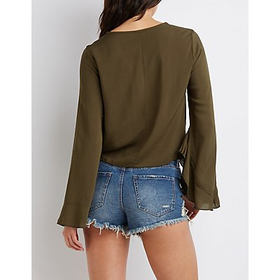 Knotted Bell Sleeve Top