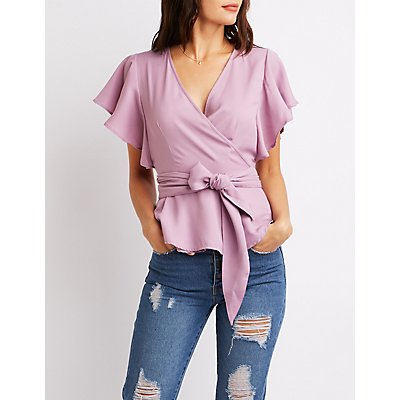 Ruffle-Trim Peplum Wrap Top