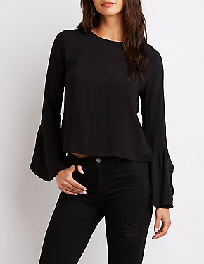 Crew Neck Bell Sleeve Top