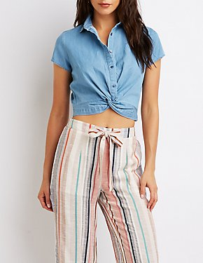 Chambray Twist-Front Crop Top