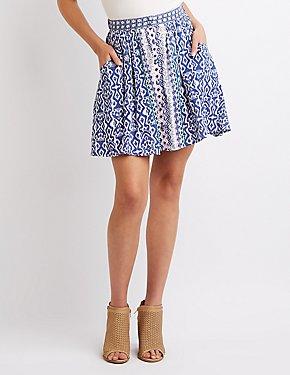 Button-Up Printed Skater Skirt