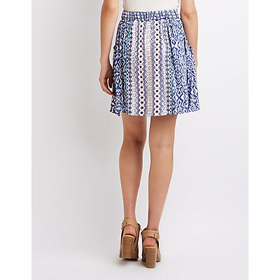 Button-Up Printed Skater Skirt