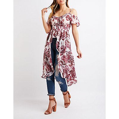 Floral High-Low Cold Shoulder Top