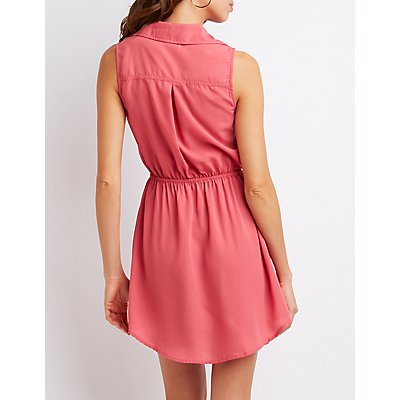 Sleeveless Button-Up Shirt Dress