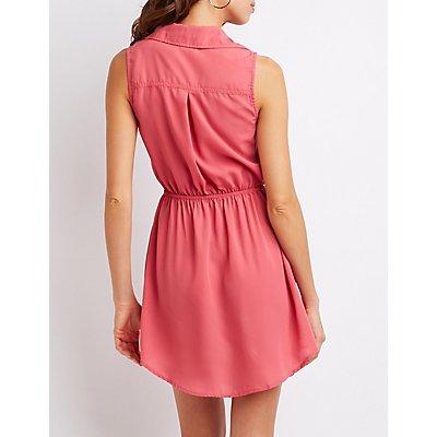 Sleeveless Button-Up Shirt Dress
