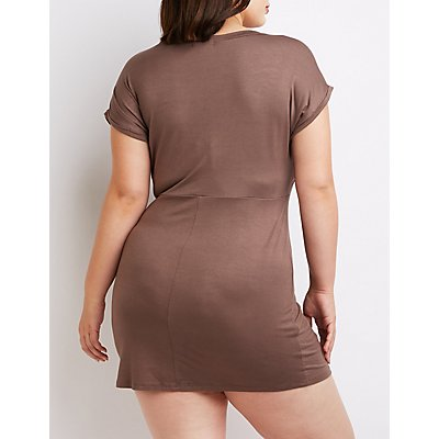 Plus Size Tie-Front Dress
