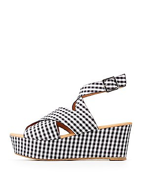 Qupid Gingham Wedge Sandals