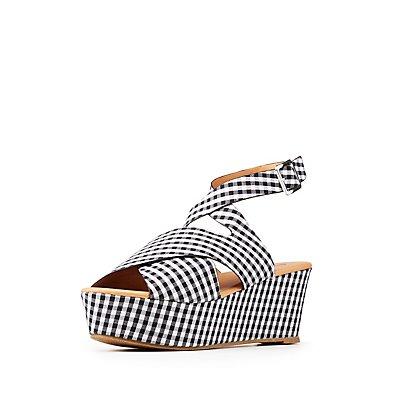 Qupid Gingham Wedge Sandals