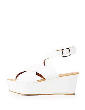 Qupid Ankle Wrap Wedge Sandals
