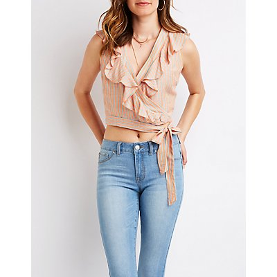 Striped Ruffle Wrap Tie Top