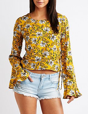 Printed Lace Up Top