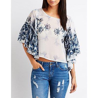 Floral Ruffle Sleeve Crop Top