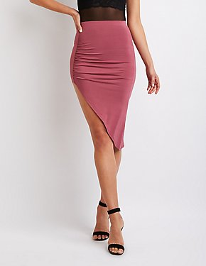Asymmetrical Ruched Pencil Skirt