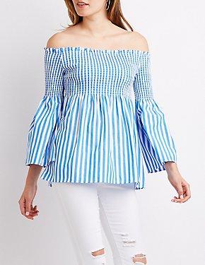 Striped Off-The-Shoulder Smocked Top