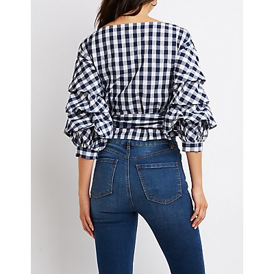 Gingham Ruched Sleeve Wrap Top