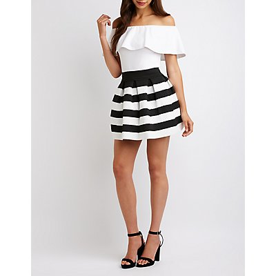 Striped Pleated Skater Skirt