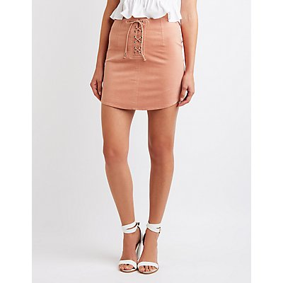 Lace Up Corduroy Skirt