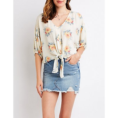 Printed  Button Up Top