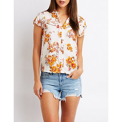 Floral Zip Pocket Top