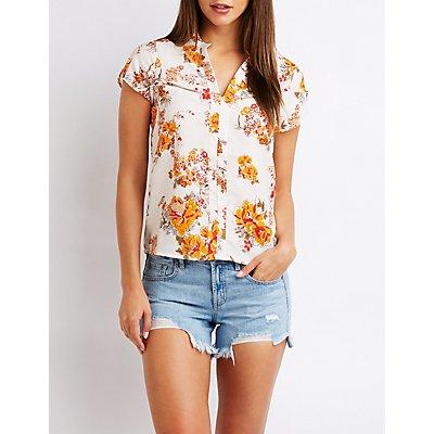 Floral Zip Pocket Top