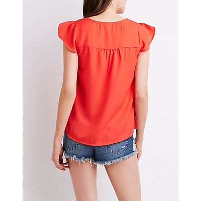 Caged Ruffle Cap Sleeve Top