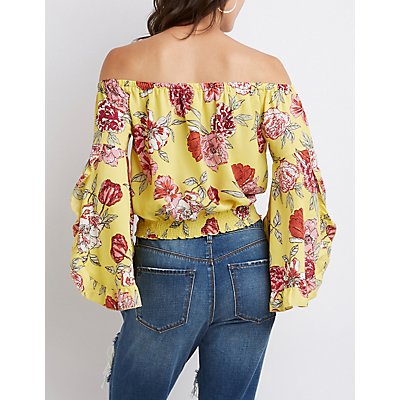Floral Smocked Off The Shoulder Top