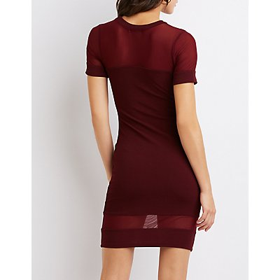 Mesh-Trim Bodycon Dress