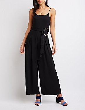 Ring Belt Wide Leg Jumpsuit