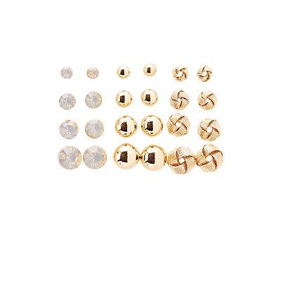 Crystal & Knot Stud Earrings - 12 Pack