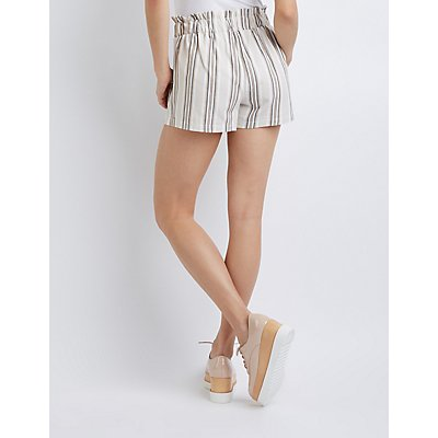 Striped Tie-Front Paperbag Shorts